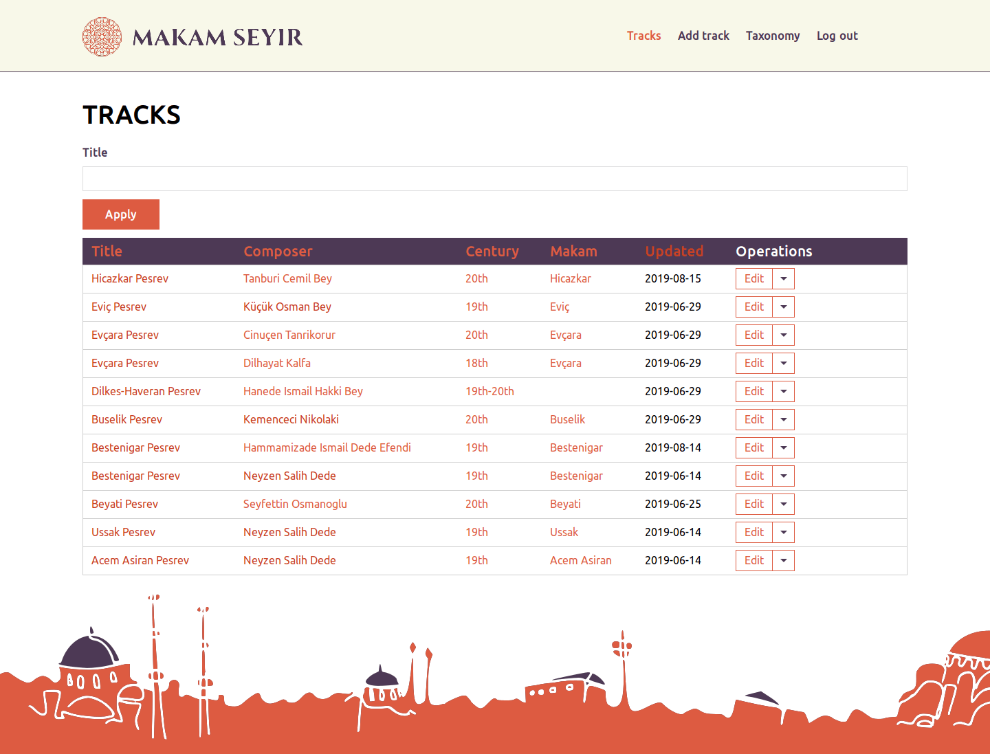 Home page with a list of tracks of Makam Seyir site